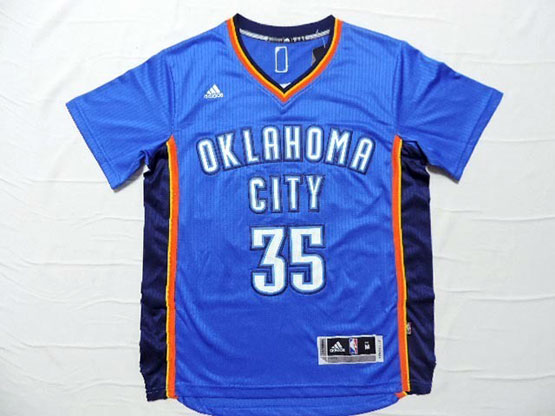 Mens Nba Oklahoma City Thunder #35 Durant Blue (short Sleeve) Jersey