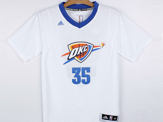 Mens Nba Oklahoma City Thunder #35 Durant White (short Sleeve) Jersey