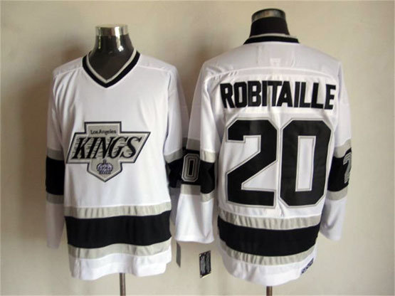 Mens Nhl Los Angeles Kings #20 Robitaille White Throwbacks Jersey Dt