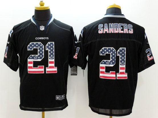 Mens Nfl Dallas Cowboys #21 Sanders Black (2014 Usa Flag Fashion) Elite Jersey