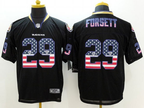 Mens Nfl Baltimore Ravens #29 Justin Forsett Black (2014 Usa Flag Fashion) Elite Jersey