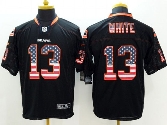 Mens Nfl Chicago Bears #13 White Black (2014 Usa Flag Fashion) Elite Jersey