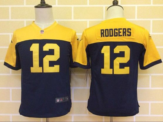 youth nfl Green Bay Packers #12 Aaron Rodgers blue&yellow jersey