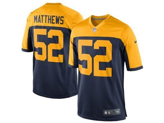 Youth Nfl Green Bay Packers #52 Matthews Blue&yellow Jersey