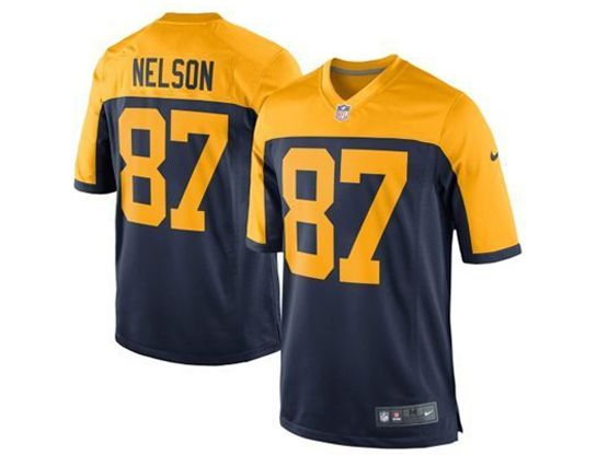 Youth Nfl Green Bay Packers #87 Nelson Blue&yellow Jersey