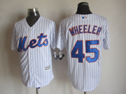 Mens mlb new york mets #45 wheeler white (2015 new blue stripe) Jersey
