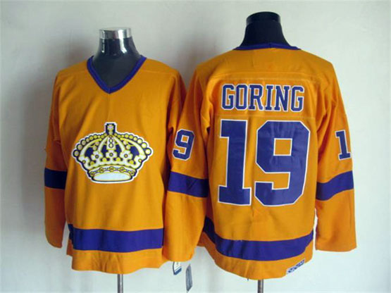 Mens Nhl Los Angeles Kings #19 Goring Full Yellow Throwbacks Jersey Dt