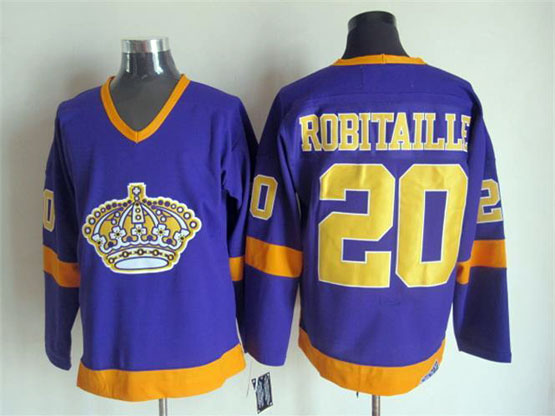 Mens Nhl Los Angeles Kings #20 Robitaille Full Purple Throwbacks Jersey Dt