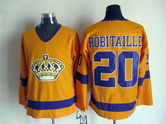 Mens Nhl Los Angeles Kings #20 Robitaille Full Yellow Throwbacks Jersey Dt