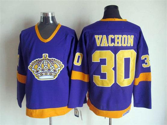 Mens Nhl Los Angeles Kings #30 Vachon Full Purple Throwbacks Jersey Dt