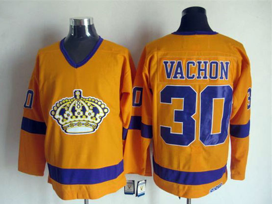 Mens Nhl Los Angeles Kings #30 Vachon Full Yellow Throwbacks Jersey Dt
