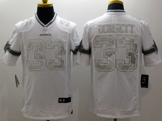 Mens Nfl Dallas Cowboys #33 Dorsett White (silver Number) Platinum Limited Jersey