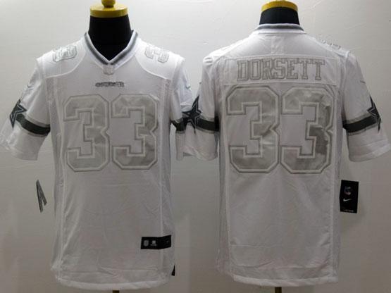 Mens Nfl Dallas Cowboys #33 Dorsett White (silver Number) Platinum Limited Jersey