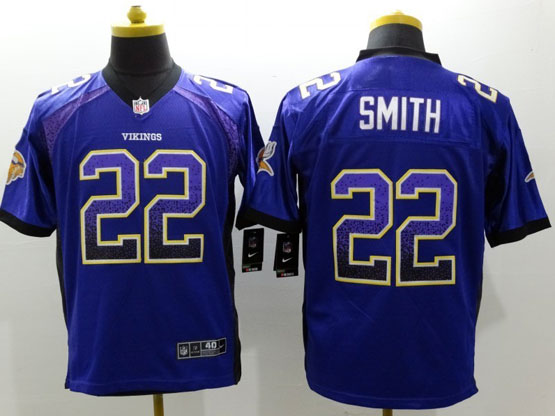 Mens Nfl Minnesota Vikings #22 Smith Drift Fashion Purple Elite Jersey