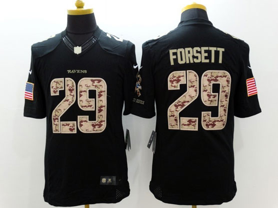 Mens Nfl Baltimore Ravens #29 Justin Forsett Salute To Service Black Limited Jersey
