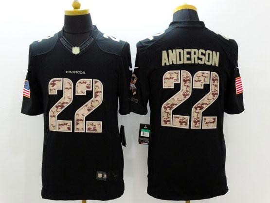 Mens Nfl Denver Broncos #22 Anderson Salute To Service Black Limited Jersey