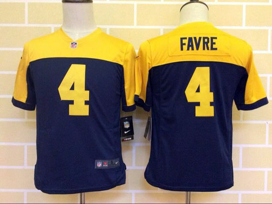 Youth Nfl Green Bay Packers #4 Favre Blue&yellow Jersey