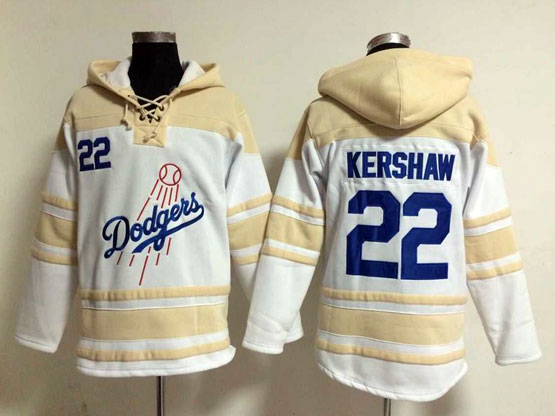Mens Mlb Los Angeles Dodgers #22 Kershaw White Hoodie Jersey