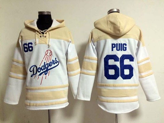 Mens Mlb Los Angeles Dodgers #66 Puig White Hoodie Jersey