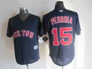 Mens Mlb Boston Red Sox #15 Pedroia Dark Blue Jersey