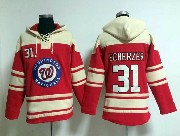 Mens Mlb Washington Nationals #31 Scherzer Red Hoodie Jersey