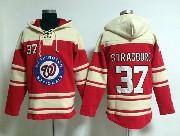 Mens Mlb Washington Nationals #37 Strasburg Red Hoodie Jersey