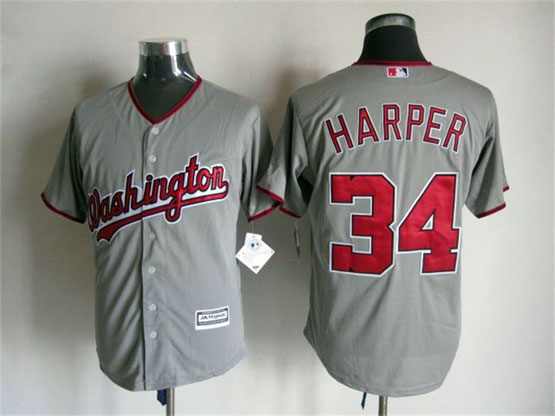 Mens Mlb Washington Nationals #34 Bryce Harper Gray Jersey