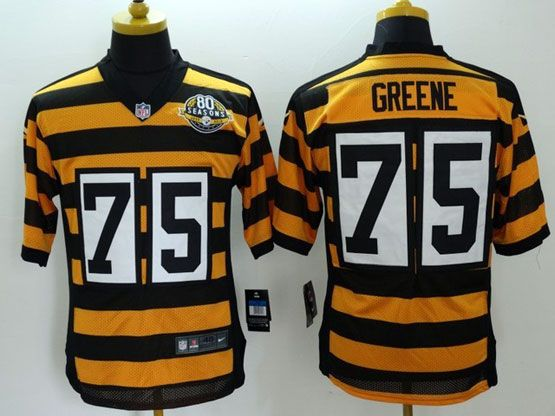 Mens Nfl Pittsburgh Steelers #75 Greene Yellow&black 80th Elite Jersey