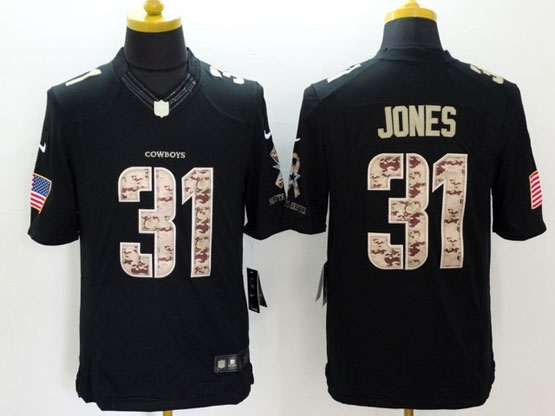 Mens Nfl Dallas Cowboys #31 Jones Black Lute To Service Limited Jersey