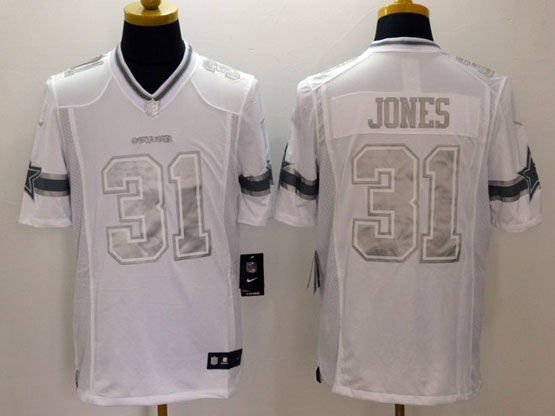 Mens Nfl Dallas Cowboys #31 Jones White (silver Number) Platinum Limited Jersey