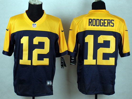 mens nfl Green Bay Packers #12 Aaron Rodgers blue&yellow jersey (sn)