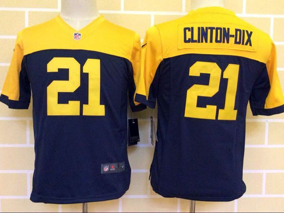 youth nfl Green Bay Packers #21 Haha Clinton-Dix blue&yellow jersey