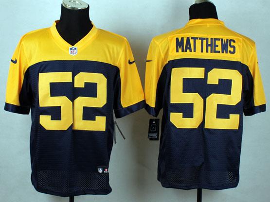 Mens Nfl Green Bay Packers #52 Matthews Blue&yellow Elite Jersey
