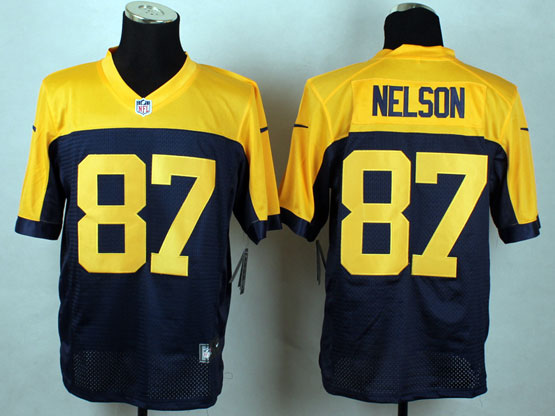 Mens Nfl Green Bay Packers #87 Nelson Blue&yellow Elite Jersey