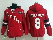 Women Reebok Nhl Washington Capitals #8 Ovechkin Red Hoodie Jersey