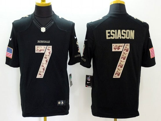 Mens Nfl Cincinnati Bengals #7 Esiason Black Salute To Service Limited Jersey