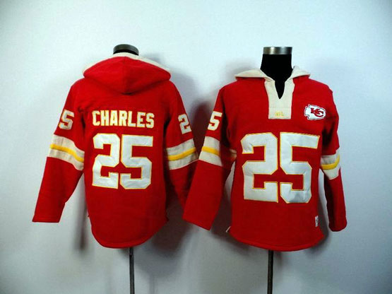 Mens Nfl Kansas City Chiefs #25 Charles Red (2015 Team) Hoodie Jersey