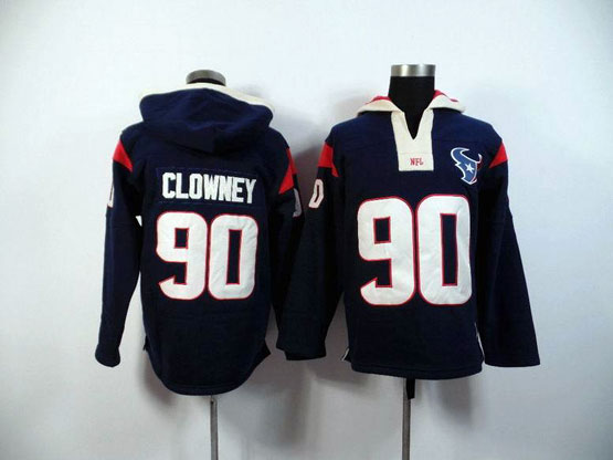 Mens Nfl Houston Texans #90 Clowney Blue (2015 Team) Hoodie Jersey