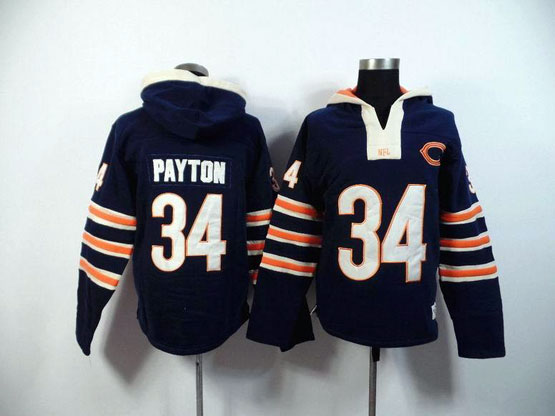mens nfl Chicago Bears #34 Walter Payton blue (2015 team) hoodie jersey