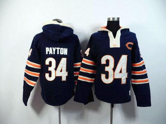 mens nfl Chicago Bears #34 Walter Payton blue (2015 team) hoodie jersey