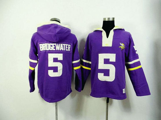 Mens Nfl Minnesota Vikings #5 Bridgewater Purple (2015 Team) Hoodie Jersey