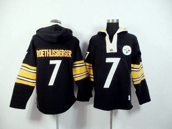 Mens Nfl Pittsburgh Steelers #7 Roethlisberger Black (2015 Team) Hoodie Jersey