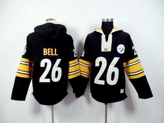 mens nfl Pittsburgh Steelers #26 Le'veon Bell black (2015 team) hoodie jersey