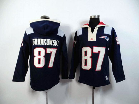 Mens Nfl New England Patriots #87 Gronkowski Blue (2015 Team) Hoodie Jersey
