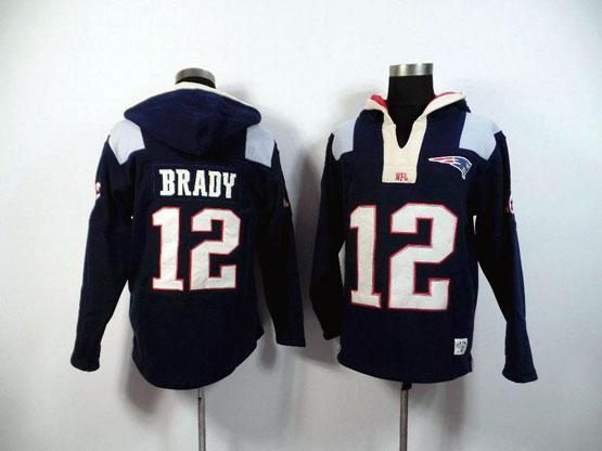 mens nfl New England Patriots #12 Tom Brady blue (2015 team) hoodie jersey