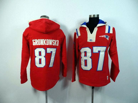 Mens Nfl New England Patriots #87 Gronkowski Red (2015 Team) Hoodie Jersey