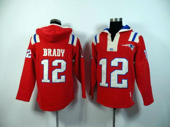 mens nfl New England Patriots #12 Tom Brady red (2015 team) hoodie jersey