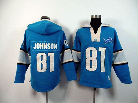 Mens Nfl Detroit Lions #81 Johnson Blue (2015 Team) Hoodie Jersey