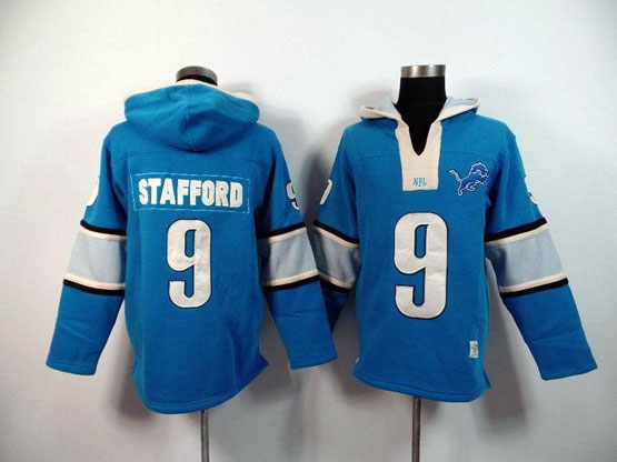 Mens Nfl Detroit Lions #9 Stafford Blue (2015 Team) Hoodie Jersey