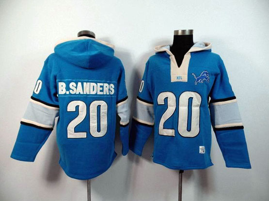 mens nfl Detroit Lions #20 Barry Sanders blue (2015 team) hoodie jersey